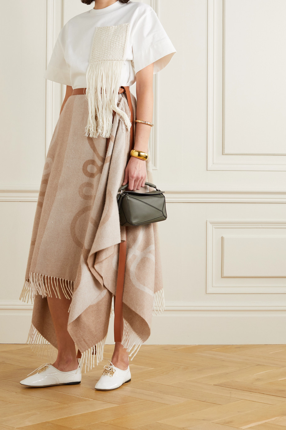 Loewe Asymmetric leather-trimmed fringed intarsia wool-blend skirt