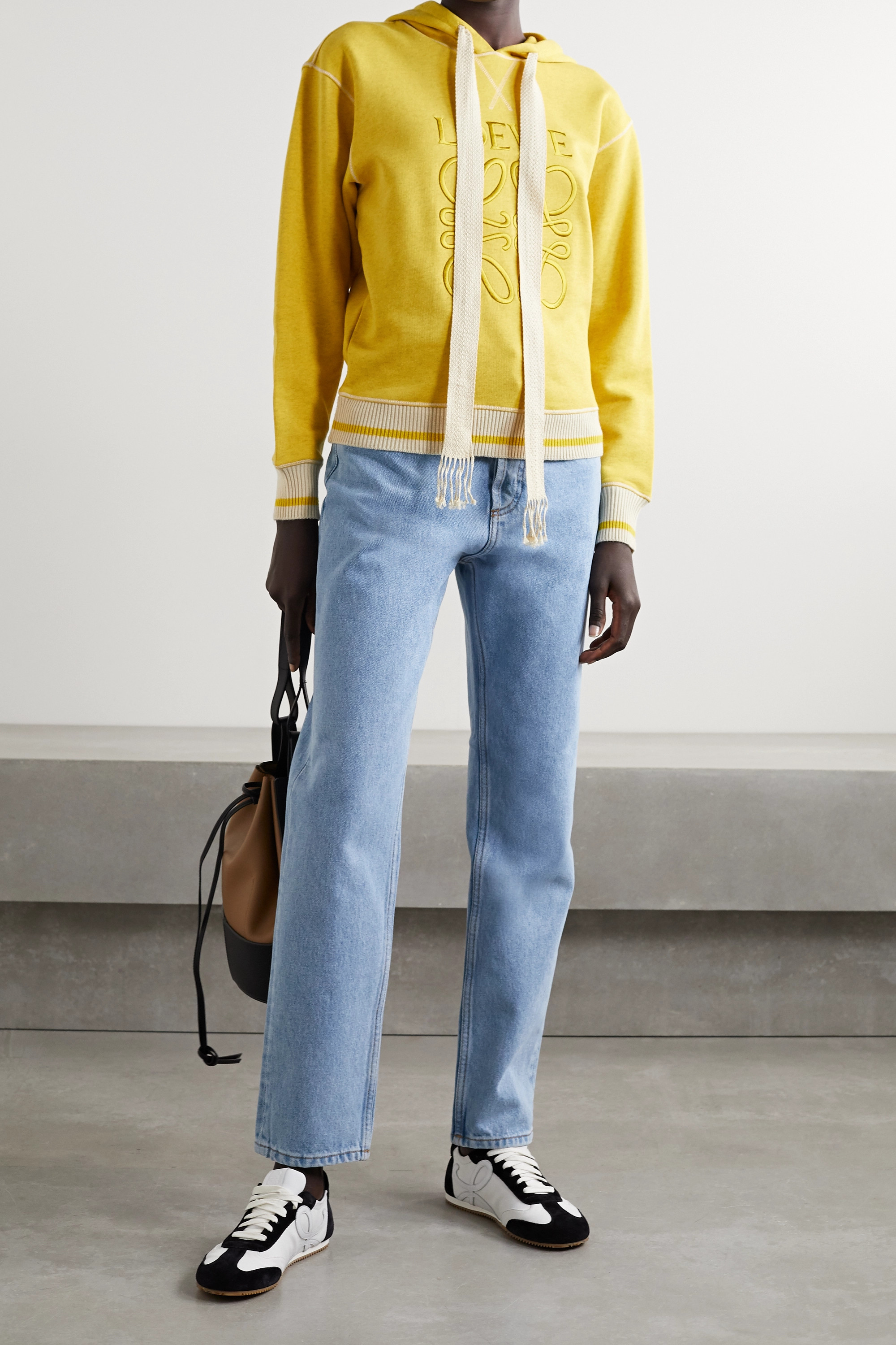 Loewe Embroidered cotton-jersey hoodie
