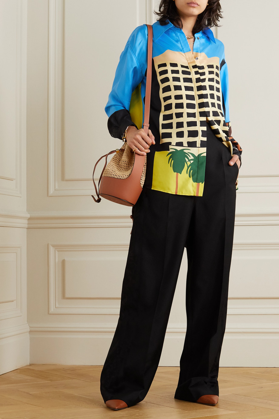 Loewe + Ken Price LA Series printed silk-satin shirt