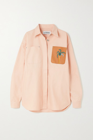 Loewe KEN PRICE LA PALME LEATHER-TRIMMED DENIM SHIRT