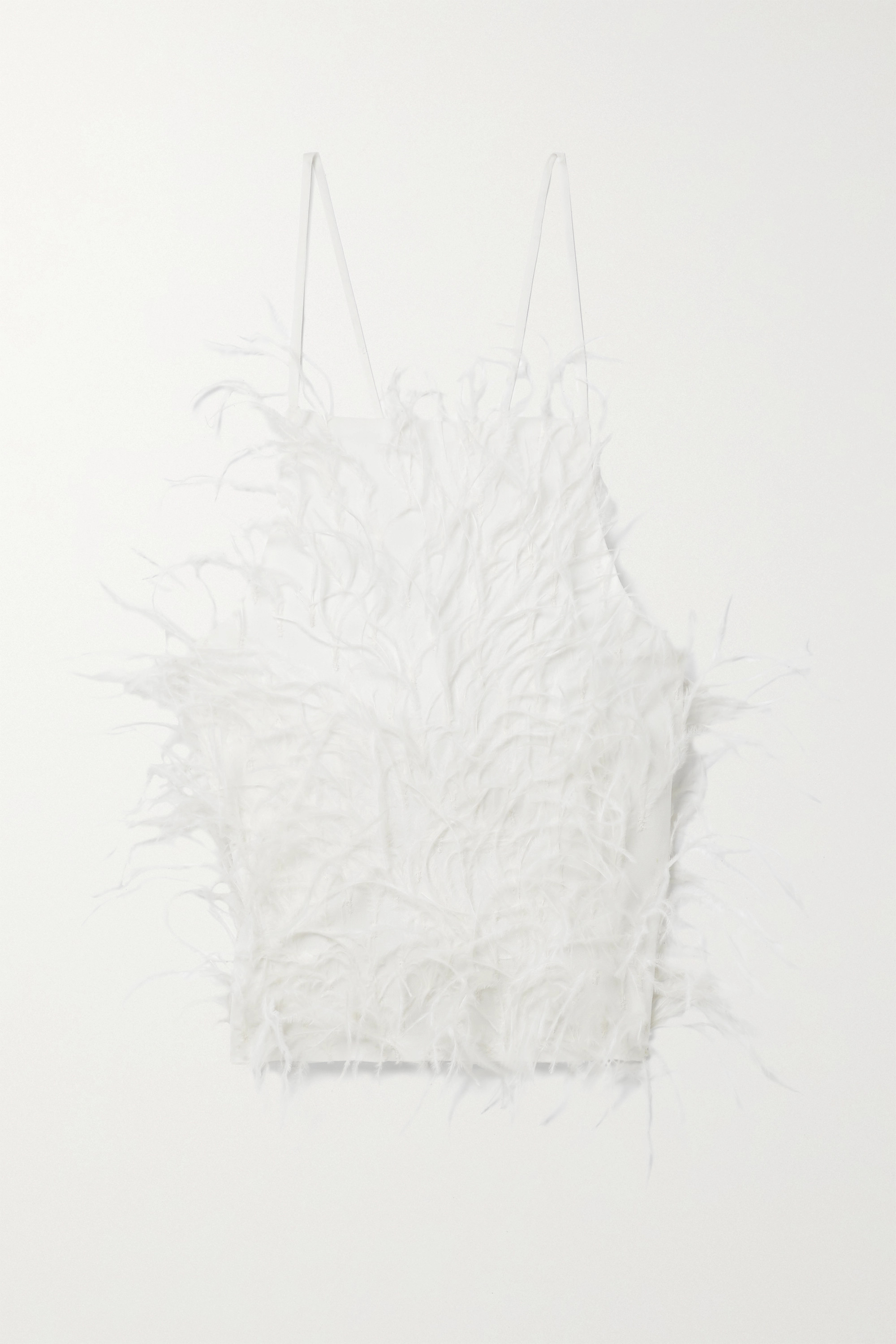 Cult Gaia JOEY OPEN-BACK FEATHER-EMBELLISHED CREPE TOP