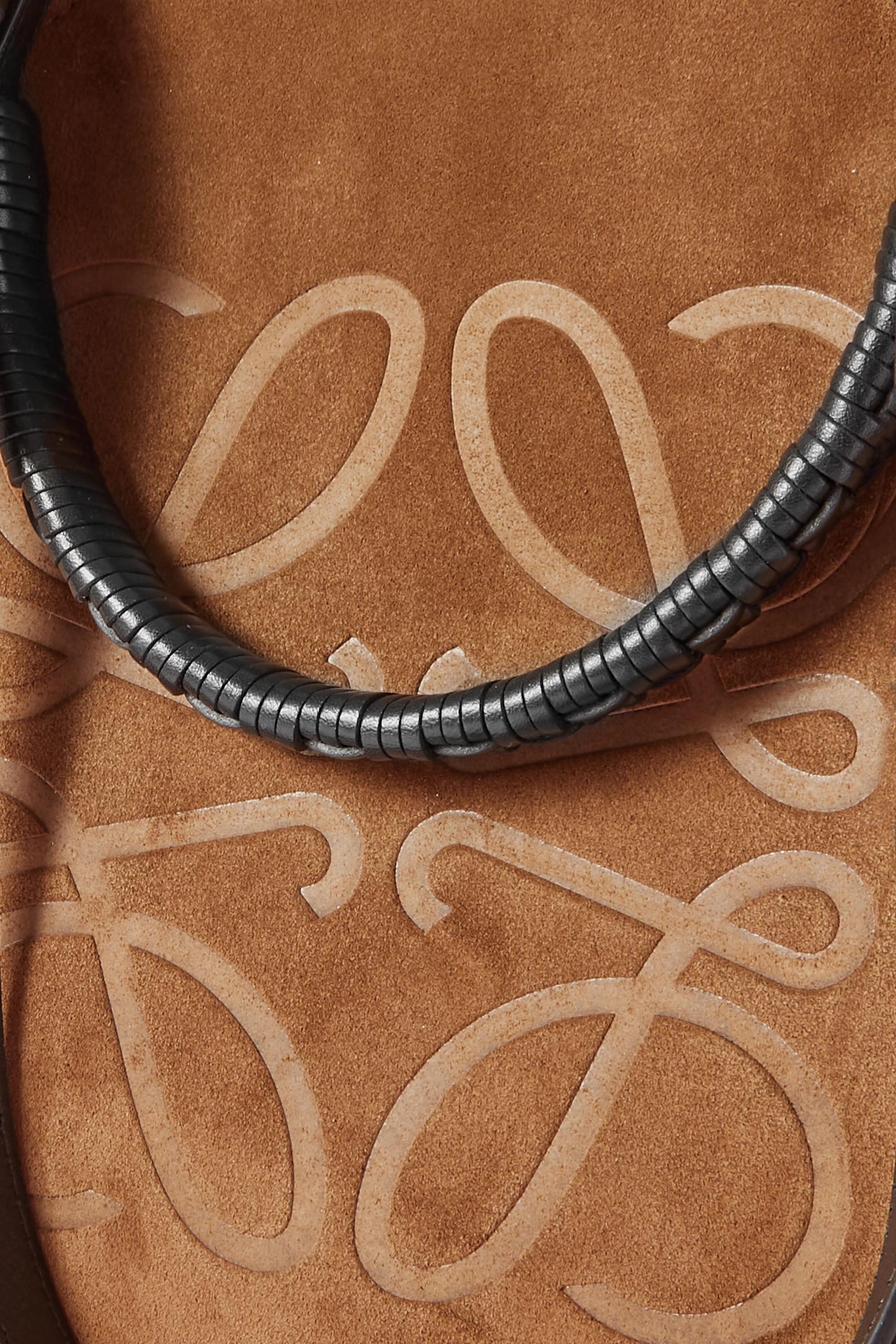 Loewe Anagram medium leather-trimmed debossed suede tote