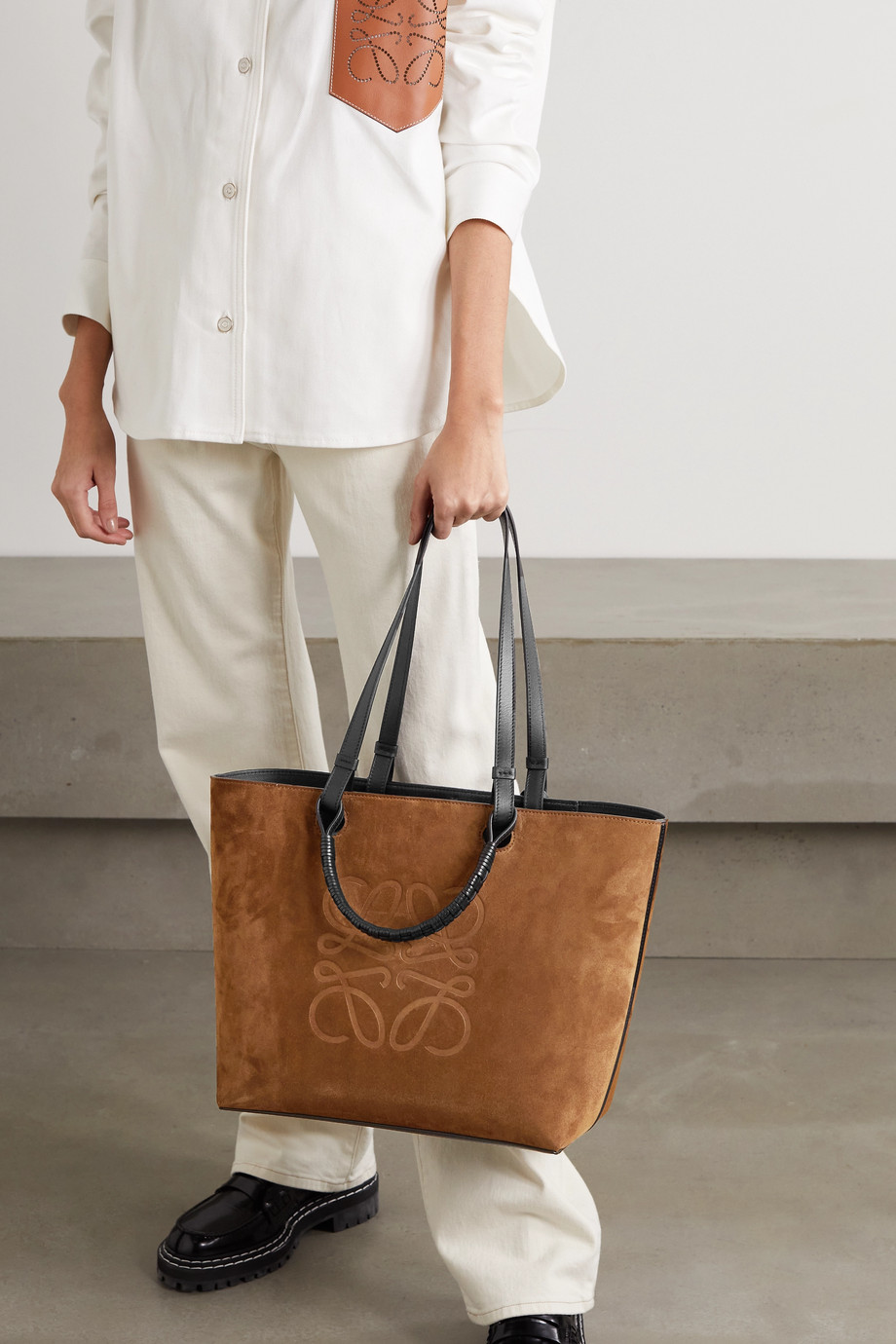 Loewe Anagram medium leather-trimmed debossed suede tote