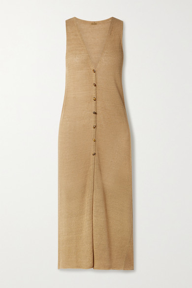 Cult Gaia Holly Linen-blend Cardigan In Camel