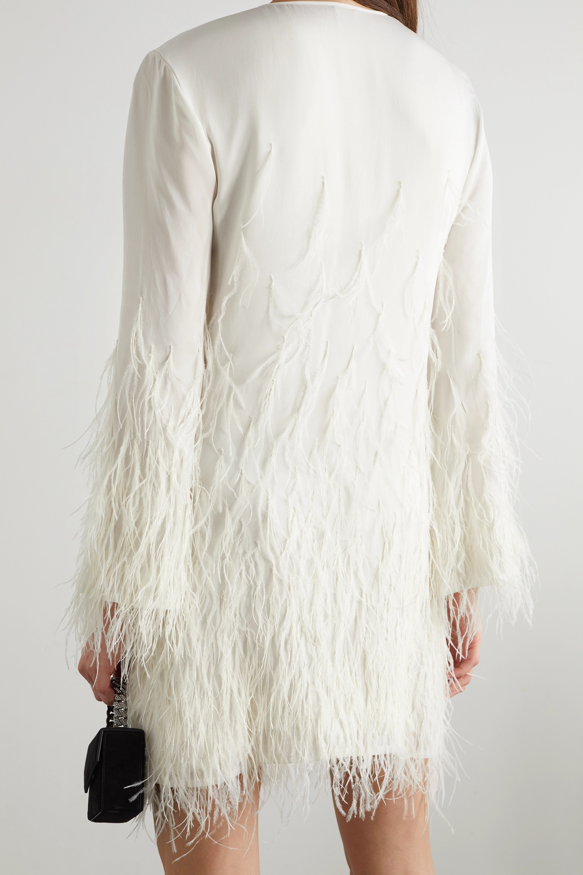 Cult Gaia Evelyn feather-trimmed cutout crepe mini dress