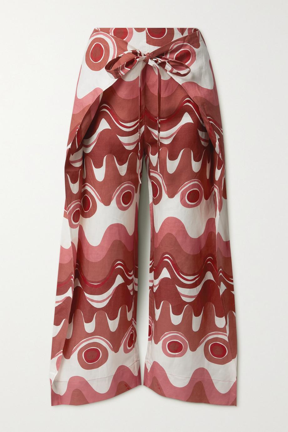 Cult Gaia Maraise layered printed linen and TENCEL Lyocell-blend wide-leg pants