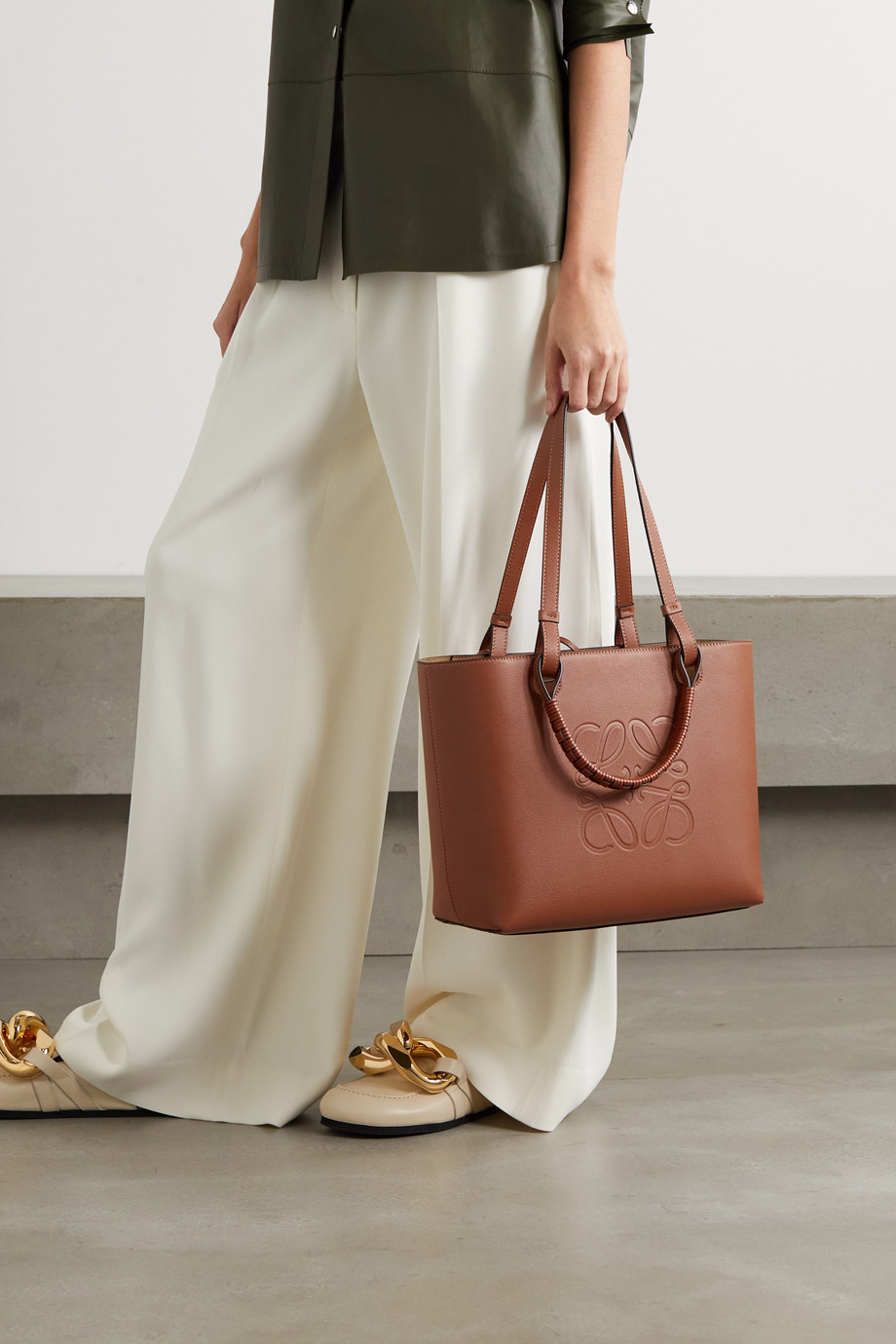 Loewe Anagram small debossed textured-leather tote