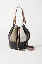 Loewe Balloon small leather-trimmed striped felt shoulder bag