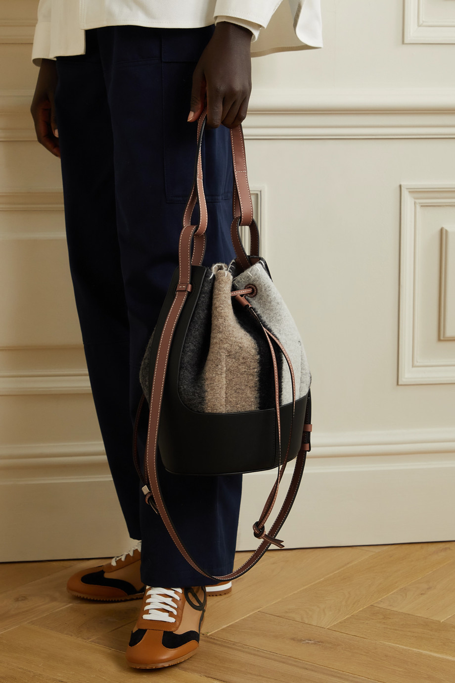 Loewe Balloon small leather-trimmed striped felt shoulder bag