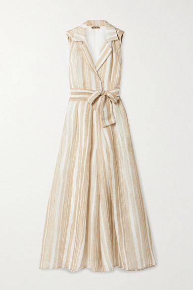 Cult Gaia Sybil Striped Linen And Silk-blend Jumpsuit In Beige