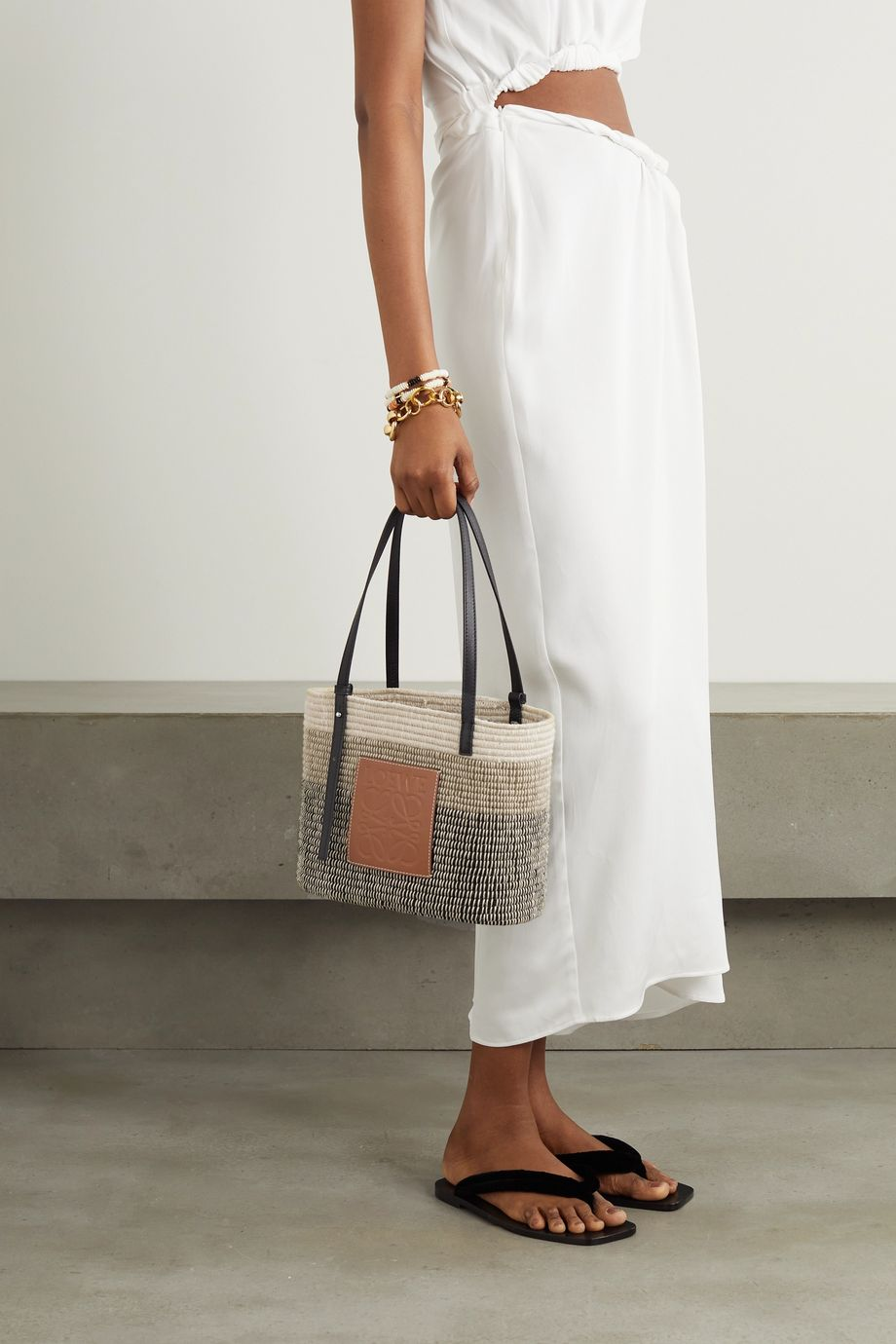 Loewe Square Basket leather-trimmed woven tote