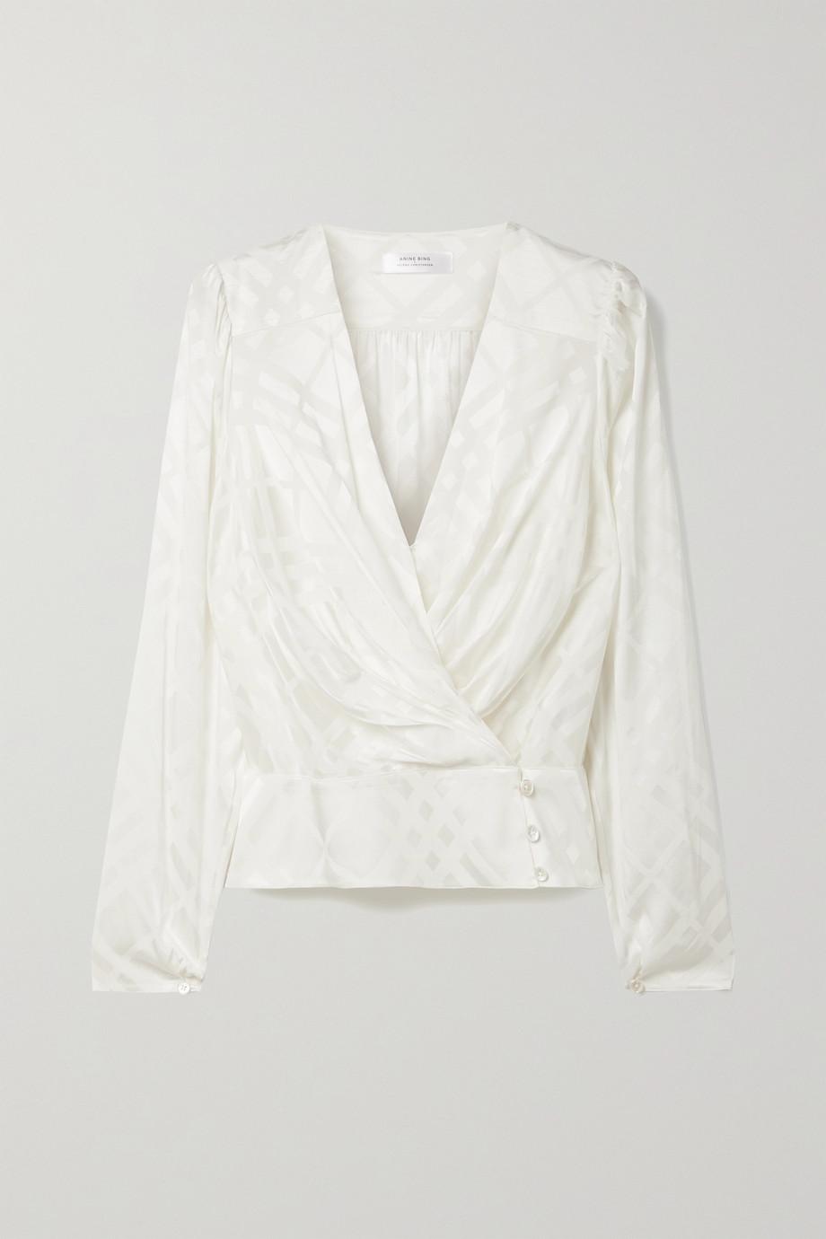 Anine Bing + Helena Christensen June silk-blend satin-jacquard wrap top