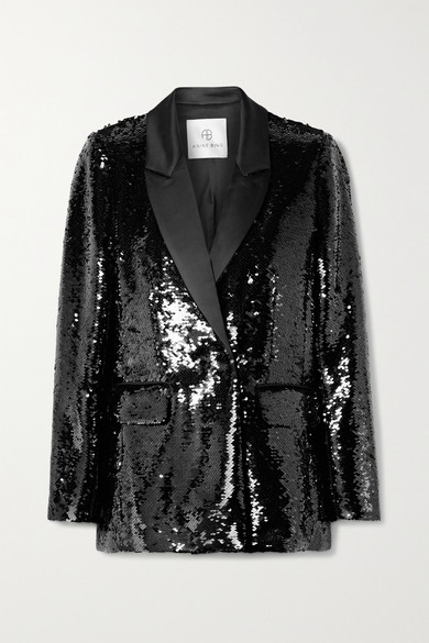Anine Bing Blazers ACE SEQUINED SATIN BLAZER