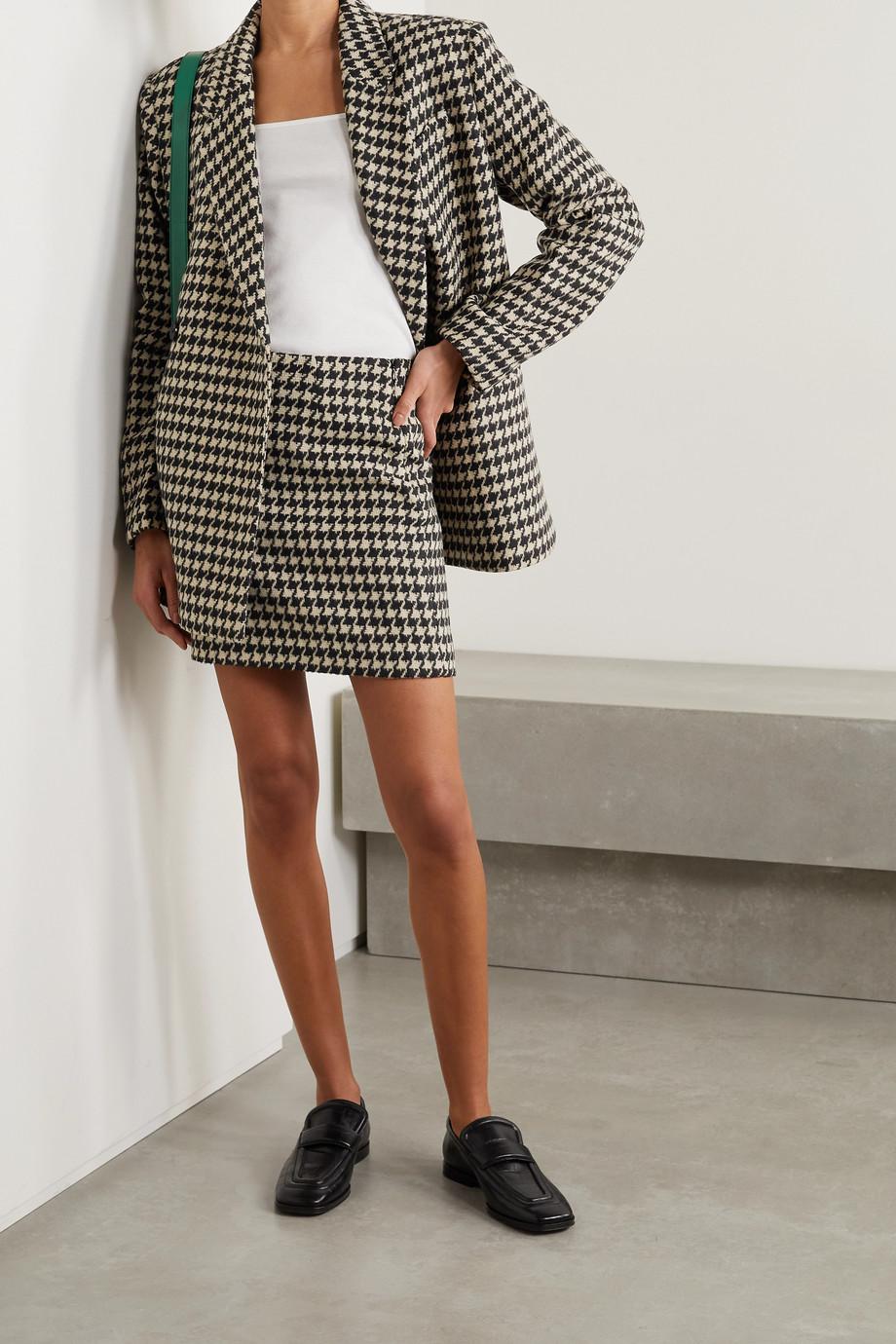 Anine Bing Marie houndstooth wool-blend mini skirt