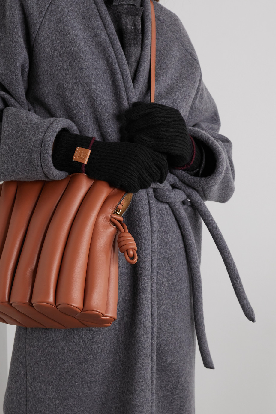 Loewe Leather-trimmed ribbed wool gloves
