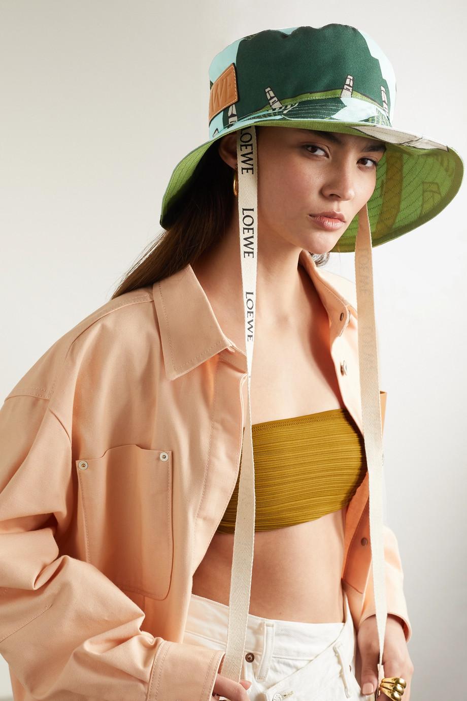 Loewe + Ken Price Easter Island leather-trimmed printed canvas bucket hat