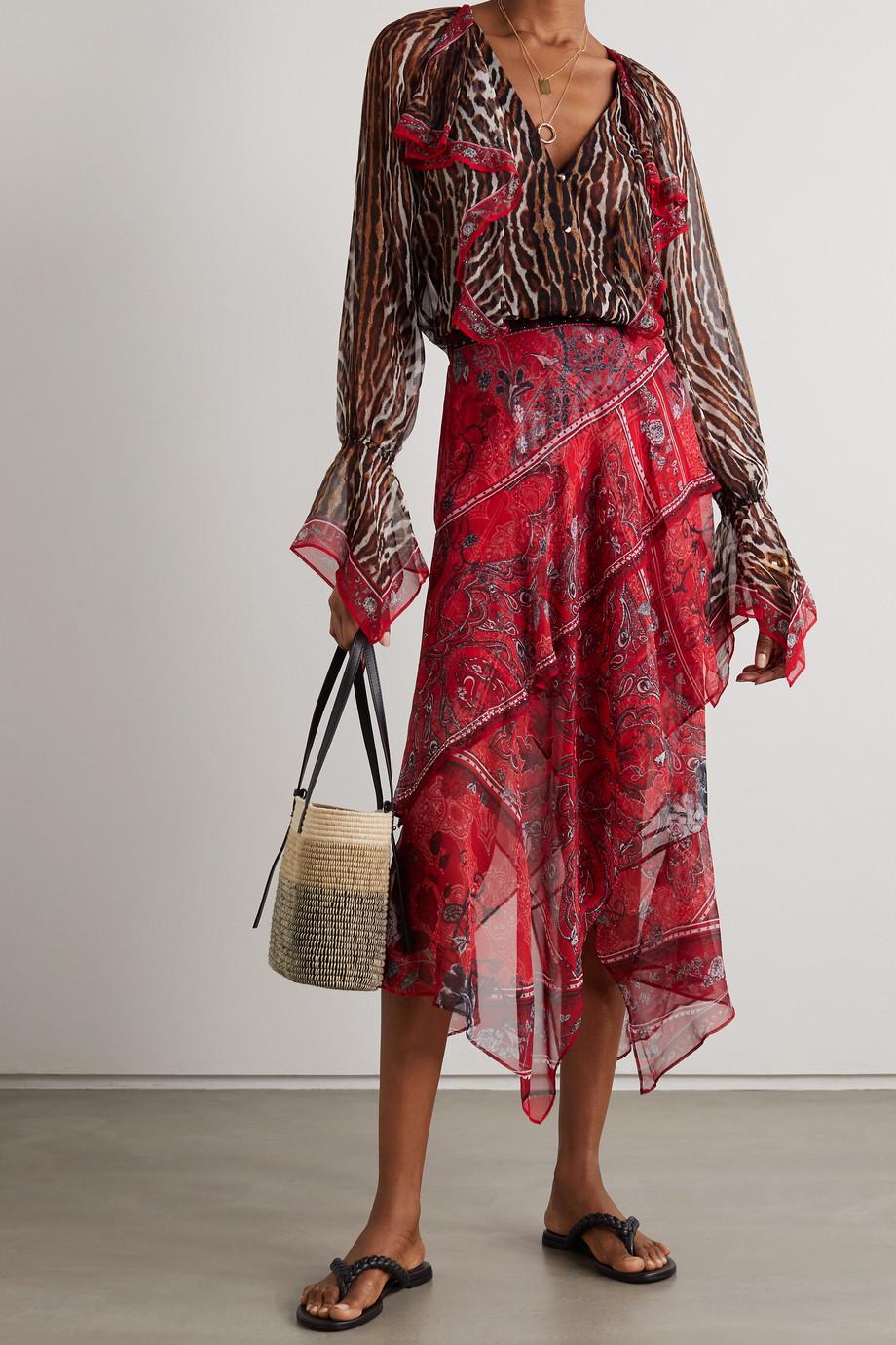 Camilla Crystal-embellished ruffled leopard-print silk crepe de chine blouse