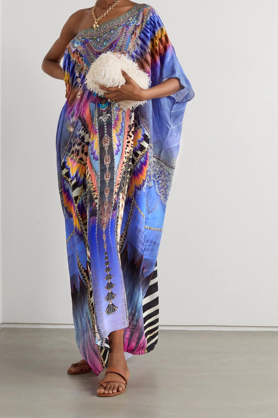 Camilla 水晶缀饰印花真丝双绉长罩衫裙