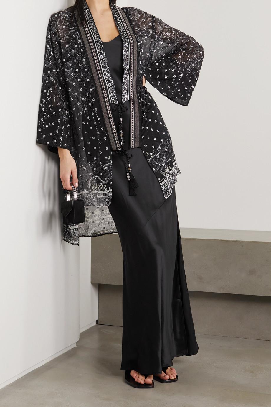 Camilla Crystal-embellished fil coupé silk-blend chiffon kimono