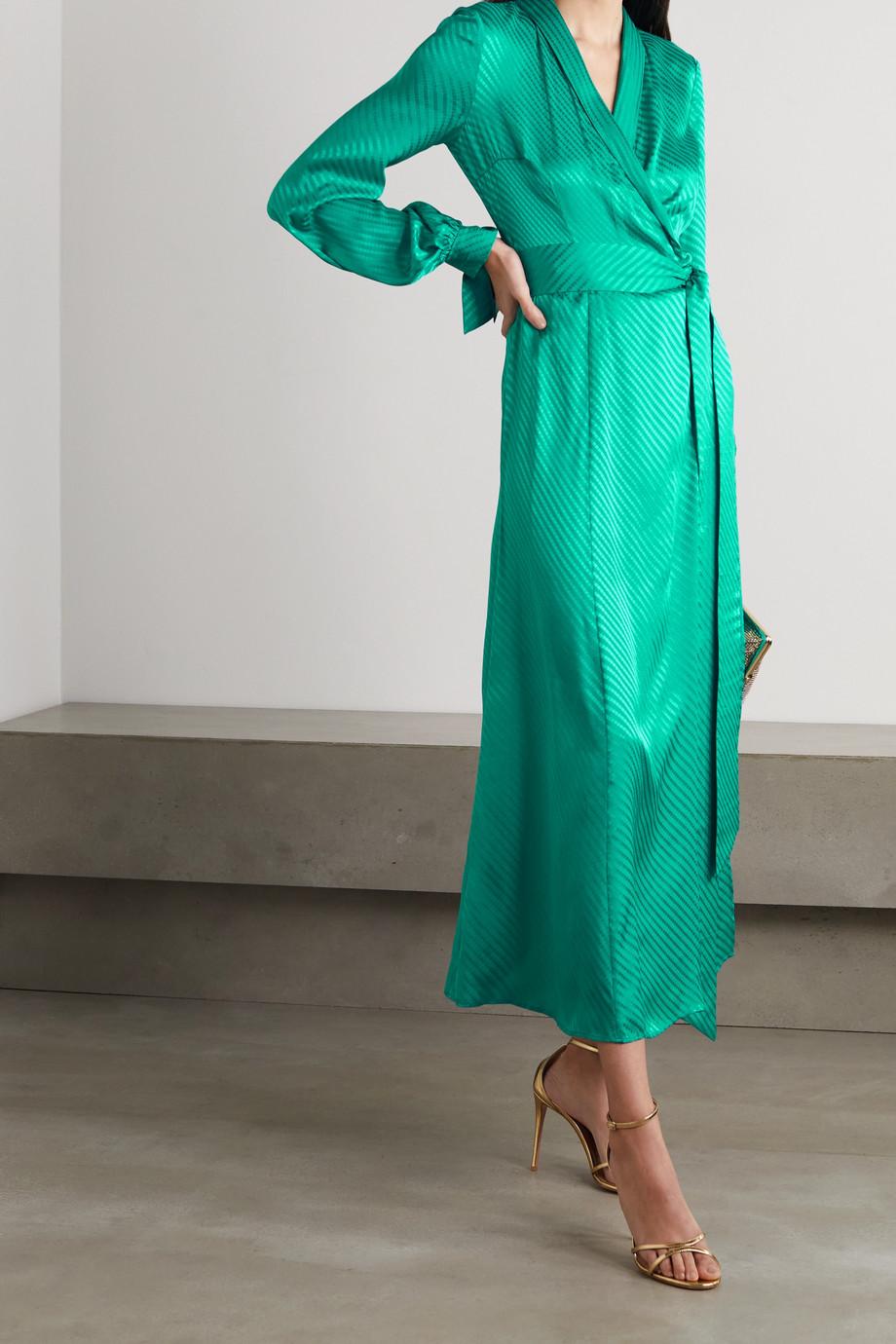 Galvan Cabana silk-jacquard wrap dress