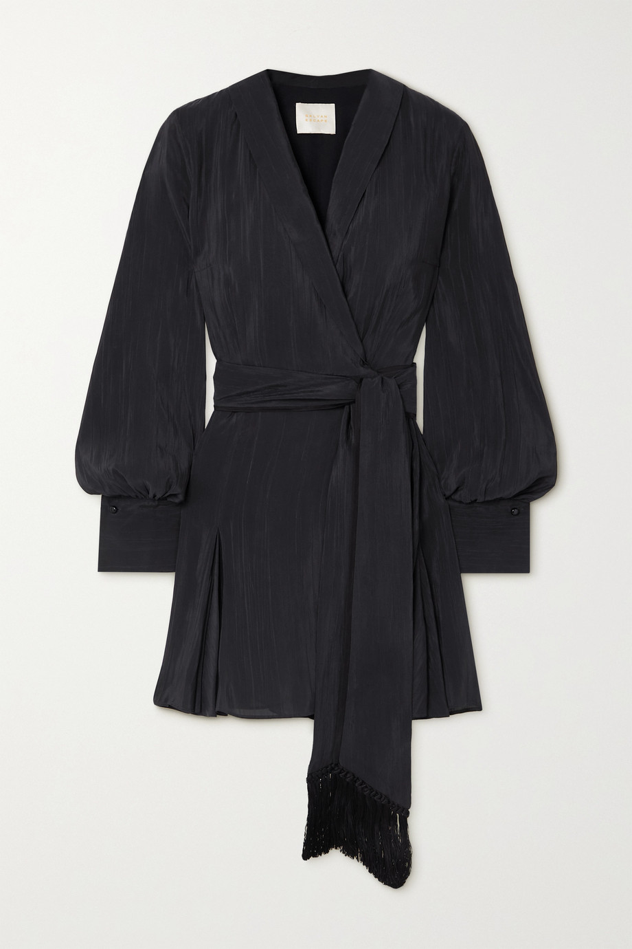 Galvan Cabana crinkled satin-voile mini wrap dress