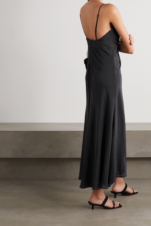 Galvan Riviera asymmetric twist-front crinkled satin-voile dress
