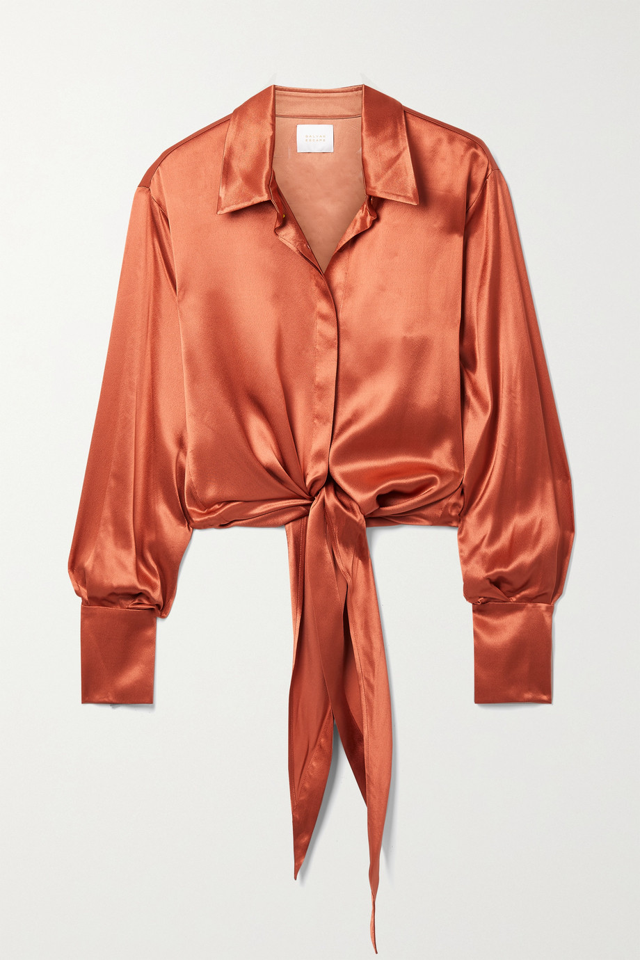 Galvan Lido tie-front satin blouse