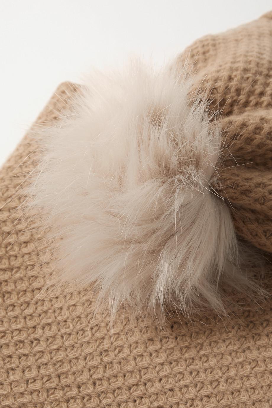 Portolano Set aus Beanie, Fäustlingen und Schal aus Kaschmir mit Faux-Fur-Besatz