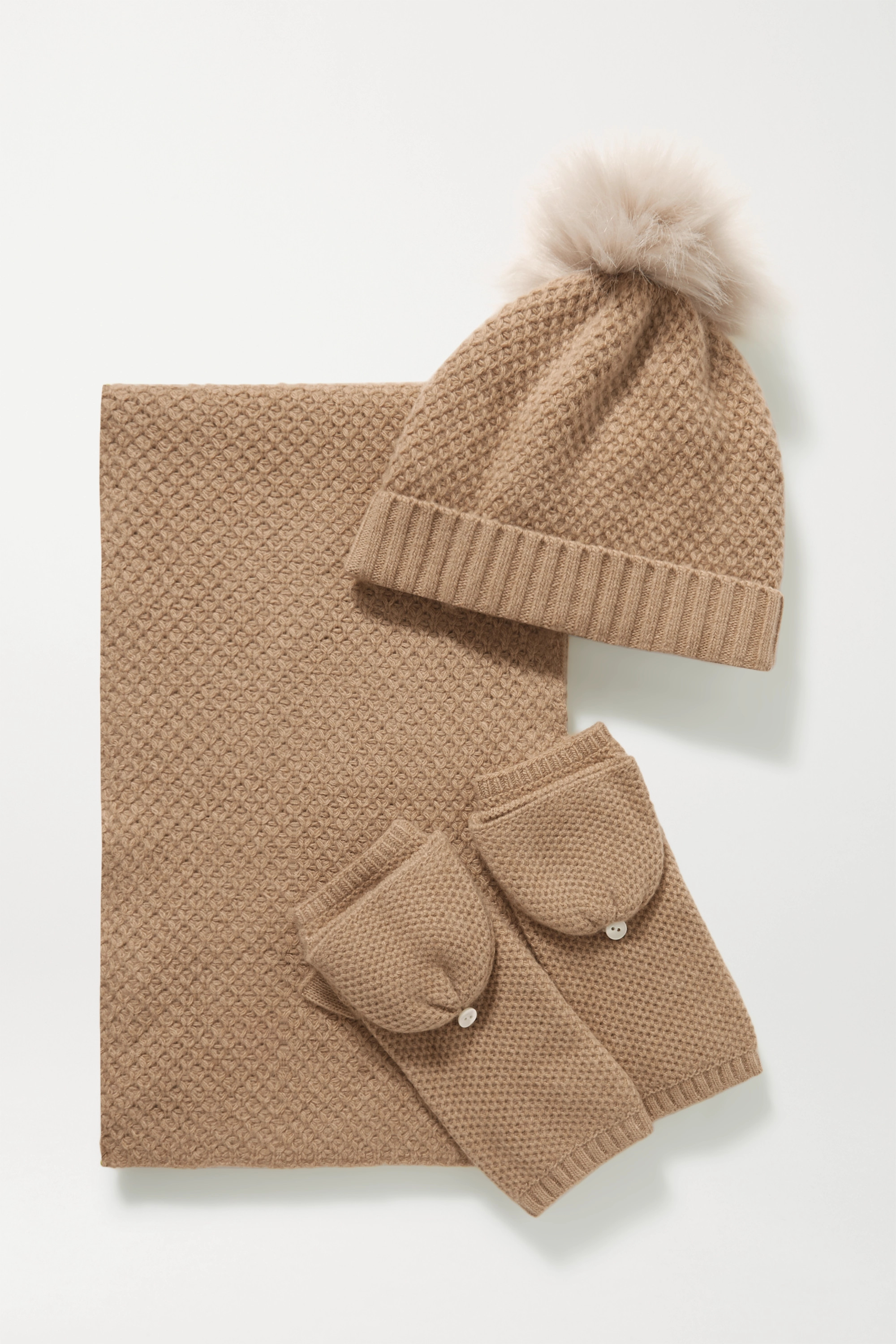 Portolano Faux fur-trimmed cashmere beanie, gloves and scarf set