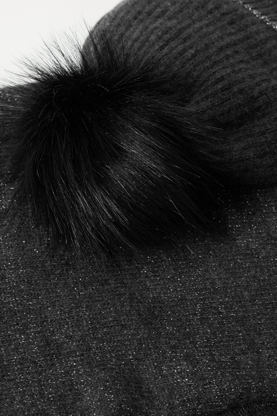 Portolano Faux fur-trimmed metallic cashmere-blend beanie and scarf set