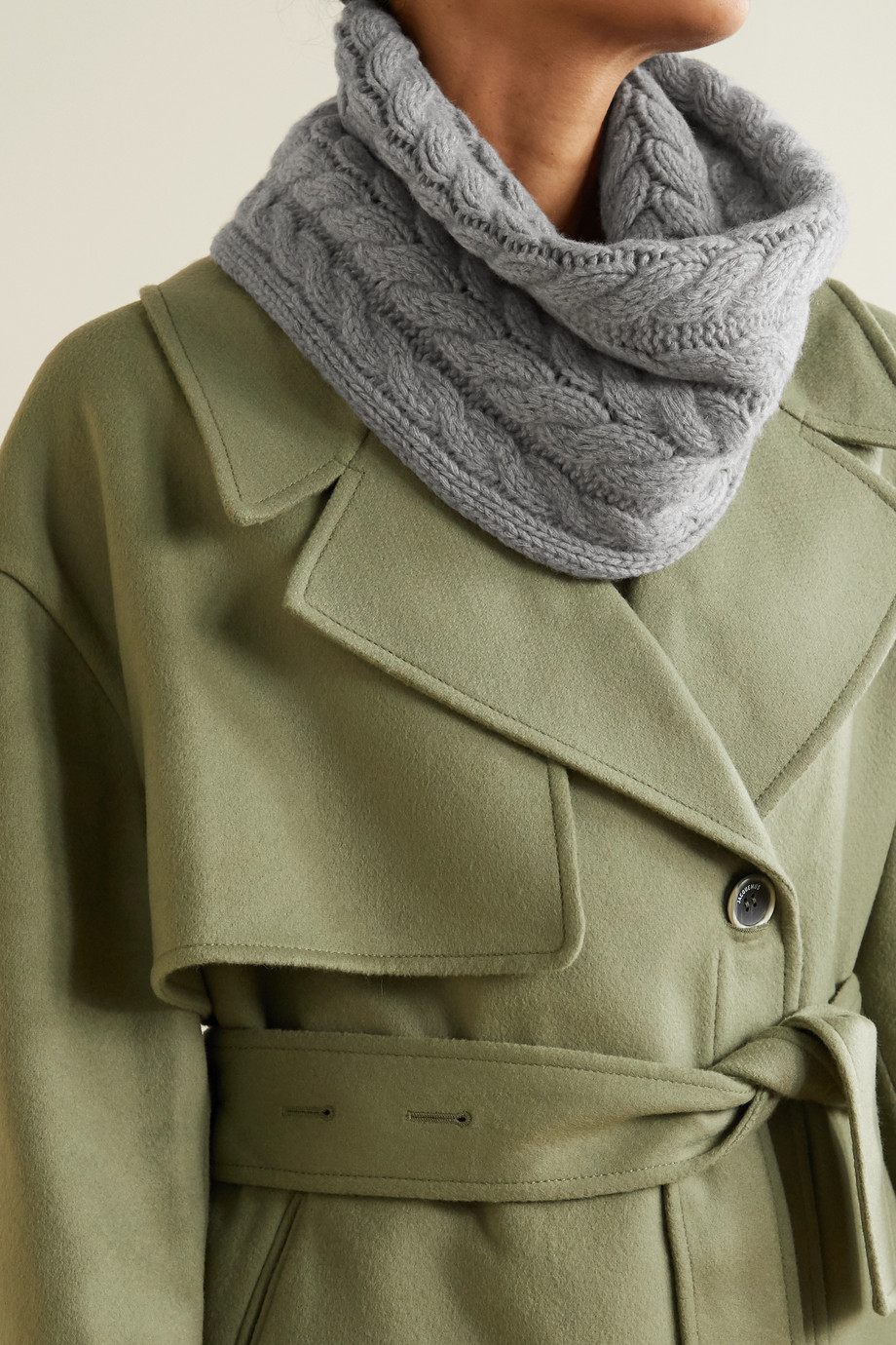 Portolano Cable-knit cashmere snood