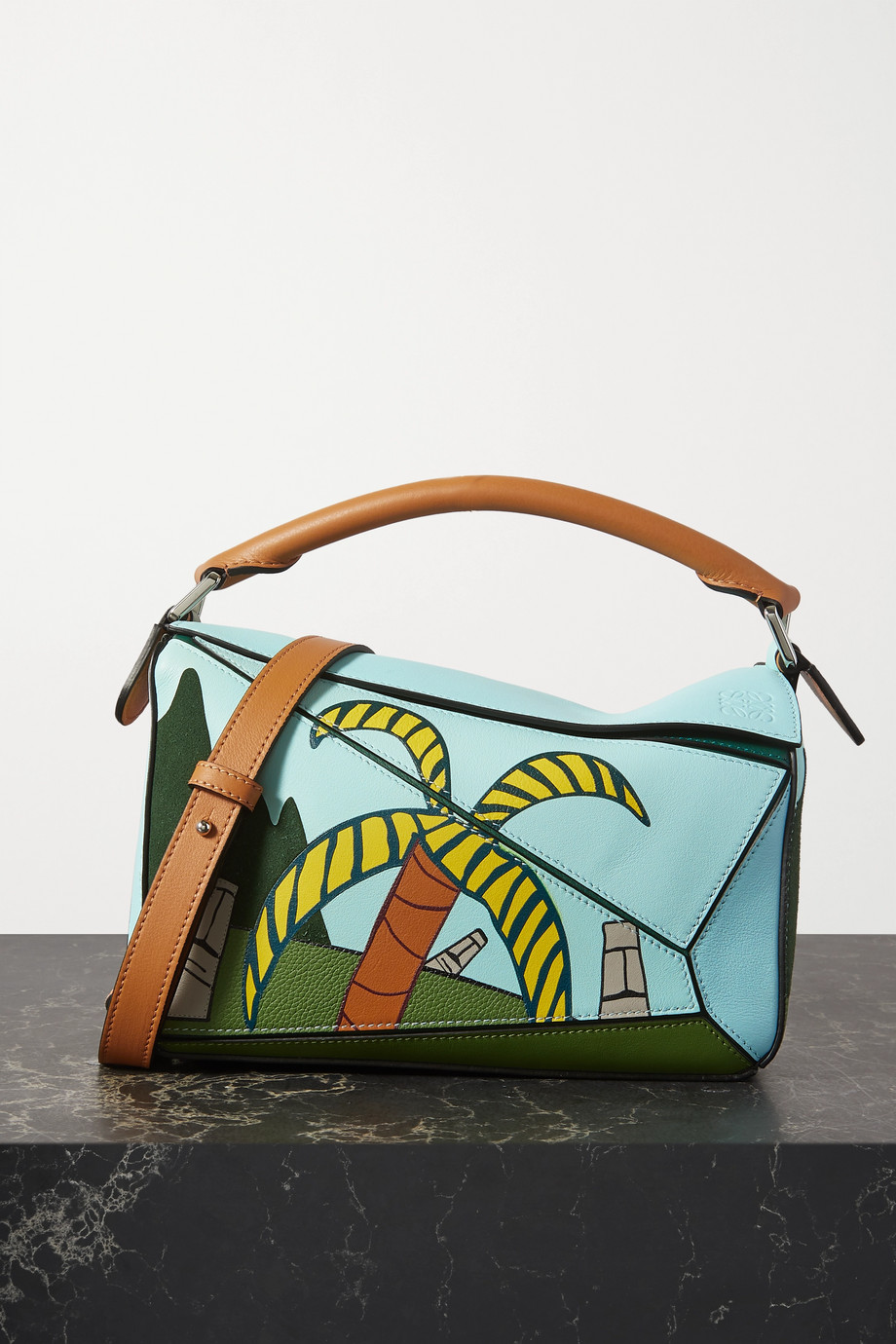 Loewe + Ken Price Easter Island Puzzle small printed textured-leather shoulder bag