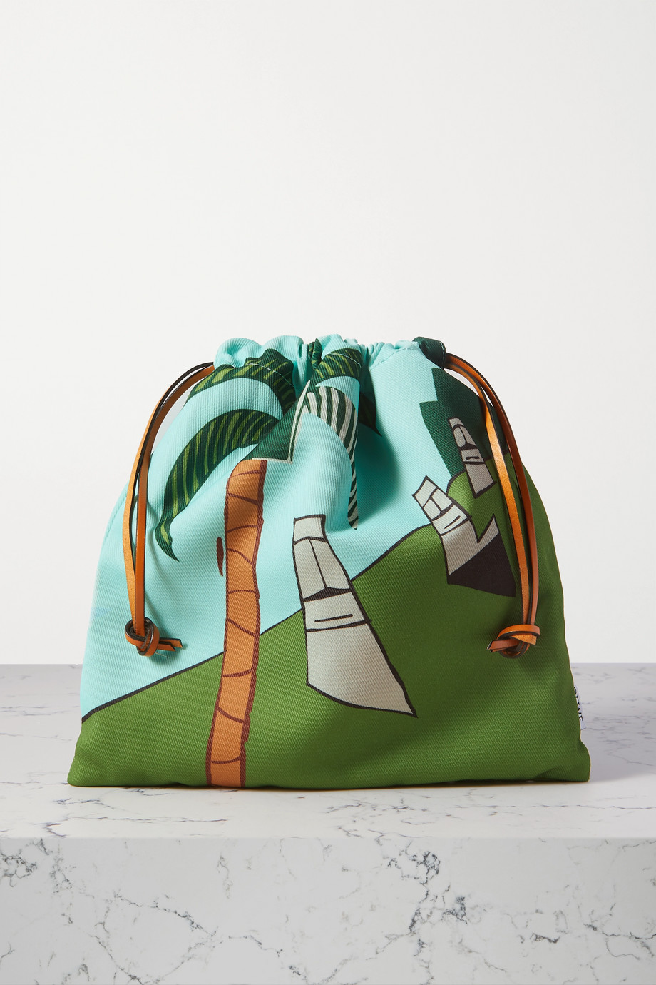 Loewe + Ken Price Easter Island leather-trimmed printed canvas pouch
