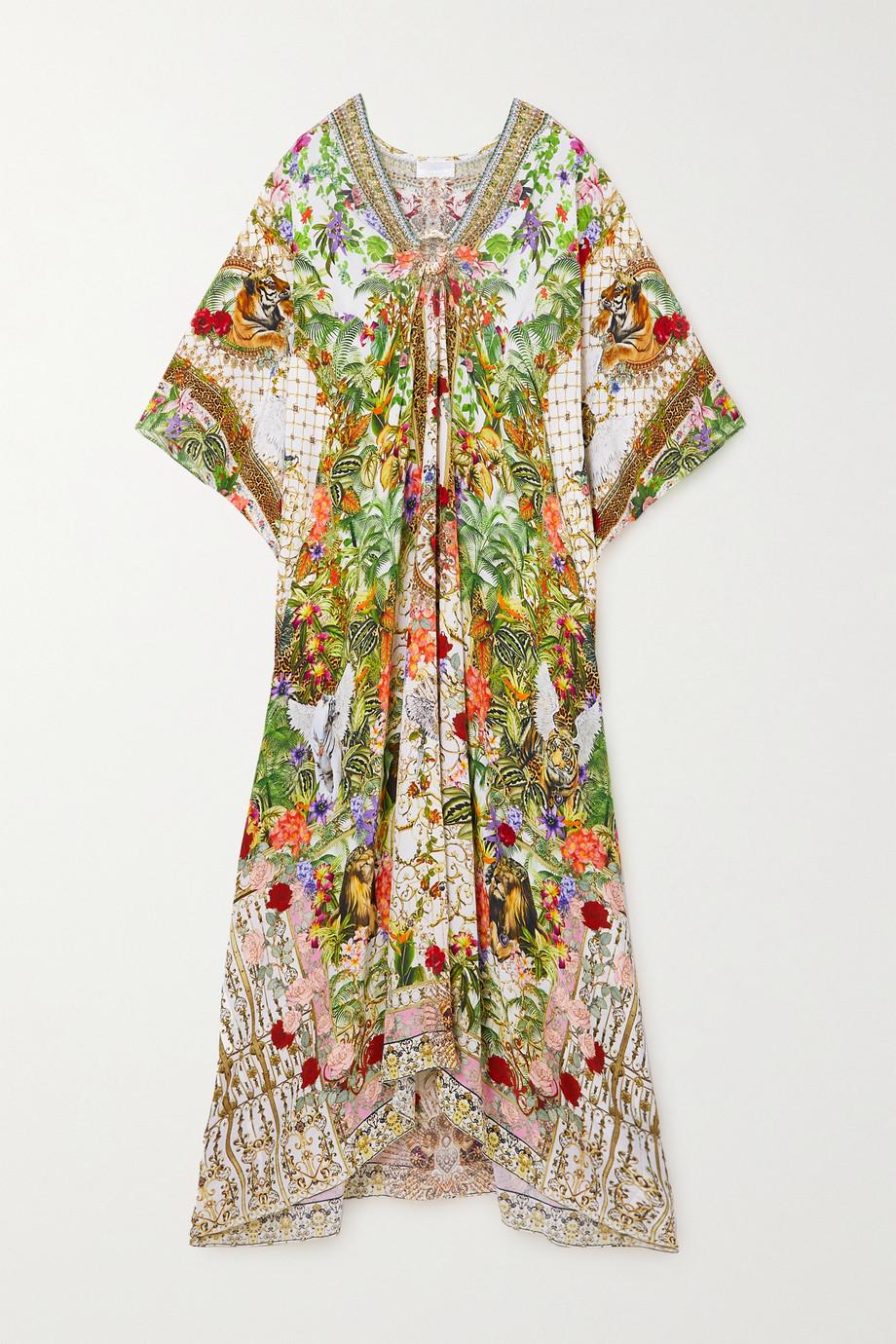Camilla 水晶缀饰挖剪印花真丝双绉长罩衫裙