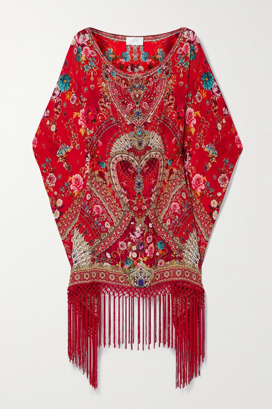 Camilla 流苏水晶缀饰花卉印花真丝双绉长罩衫裙
