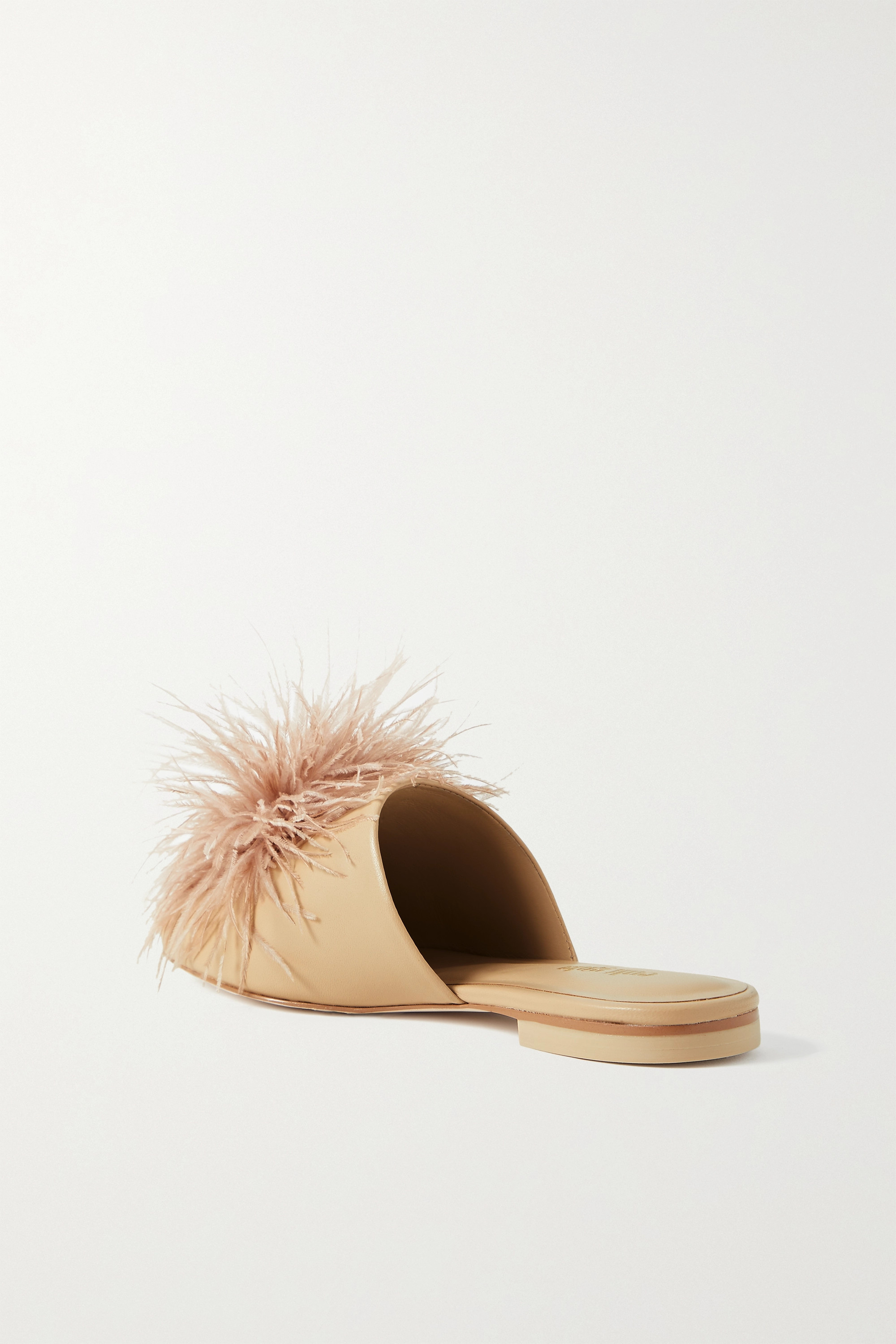 Cult Gaia Ray feather-trimmed leather slippers