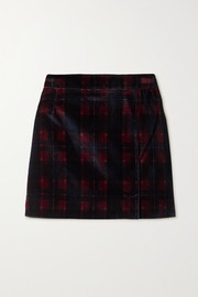 Bella Freud Checked cotton-velvet mini skirt