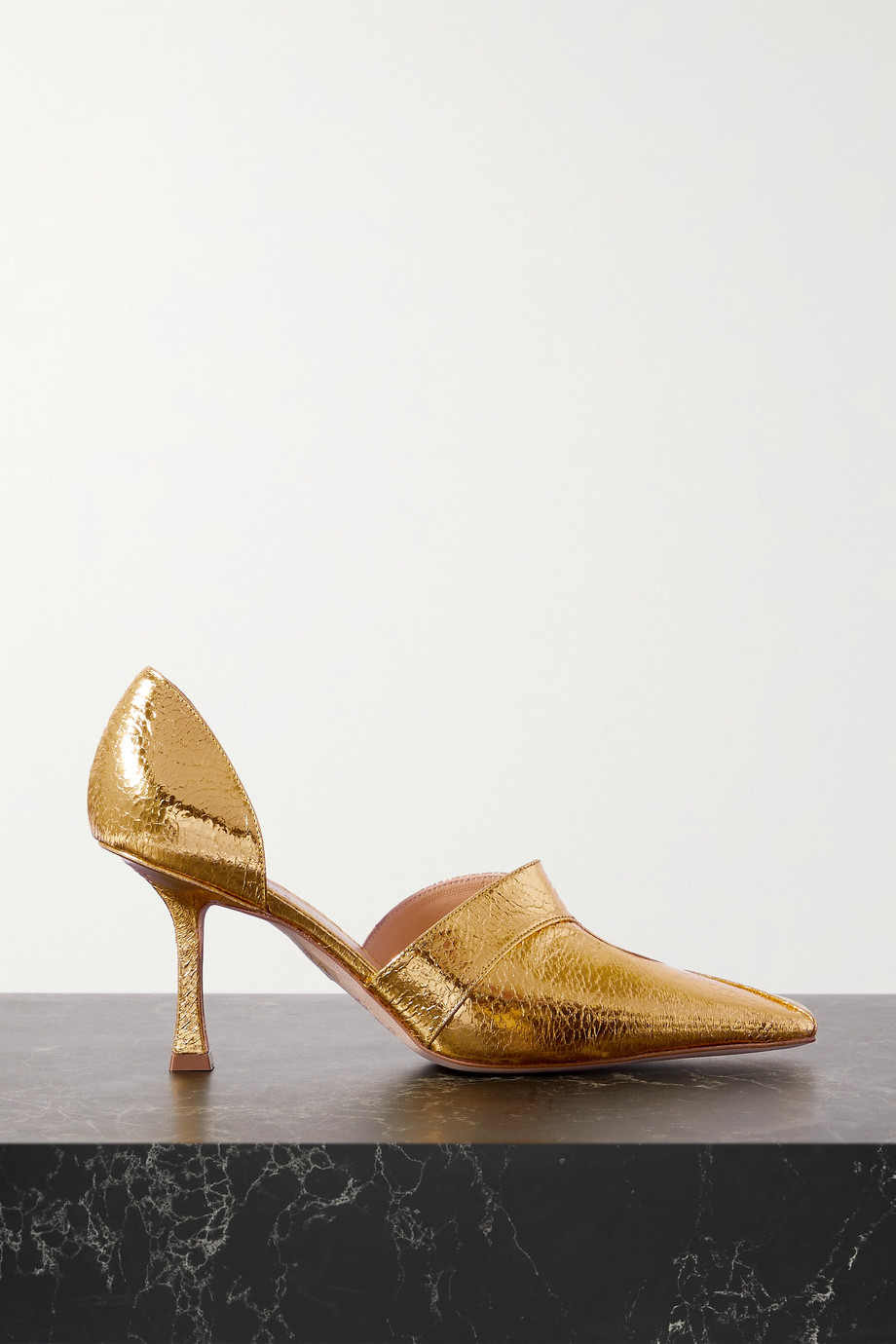 A.W.A.K.E. MODE Loretta cutout metallic faux textured-leather pumps