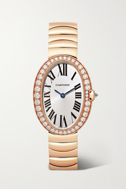Cartier Baignoire 24.5mm small 18-karat rose gold and diamond watch