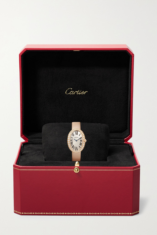 Cartier Baignoire 24.5 毫米 18K 玫瑰金钻石小号腕表(绢丝表带)
