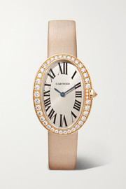Cartier Baignoire 24.5mm small 18-karat rose gold, toile brossée and diamond watch