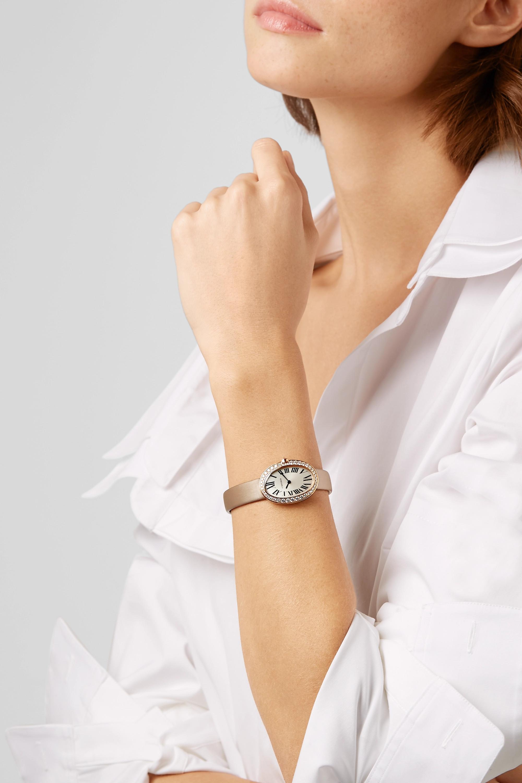 Cartier Montre en or rose 18 carats et diamants à bracelet en toile brossée Baignoire Small 24,5 mm
