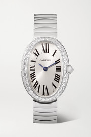 Cartier Baignoire 24.5mm small 18-karat white gold and diamond watch