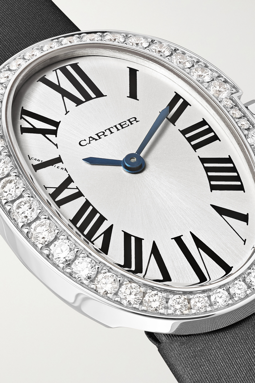 Cartier Baignoire 24.5 毫米 18K 白金钻石小号腕表(绢丝表带)