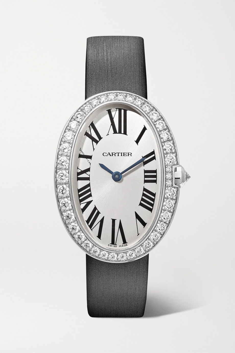 Cartier Baignoire 24.5mm small 18-karat white gold, toile brossée and diamond watch