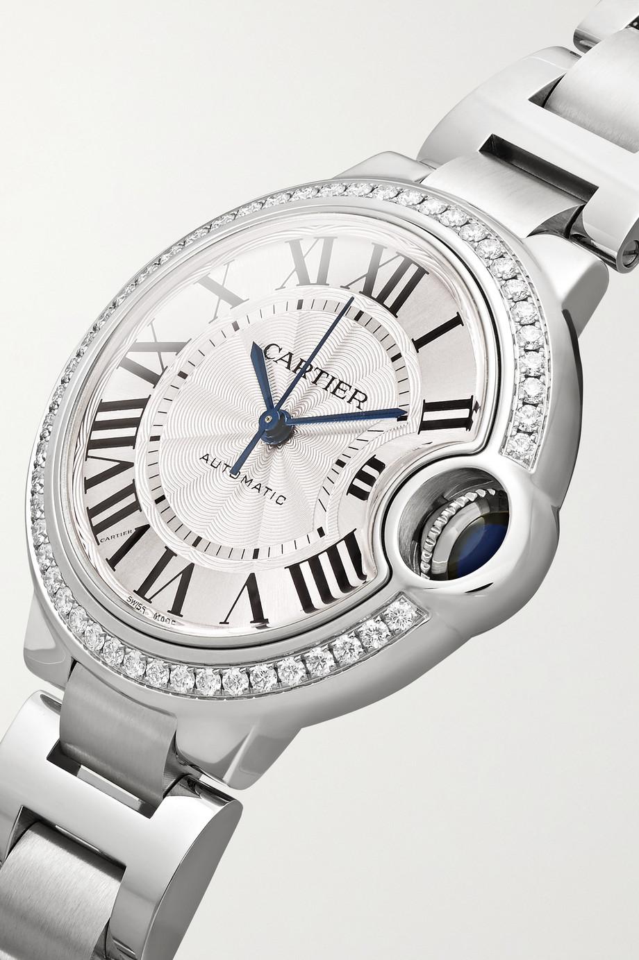 Cartier Ballon Bleu de Cartier Automatic 36 mm Uhr aus Edelstahl mit Diamanten