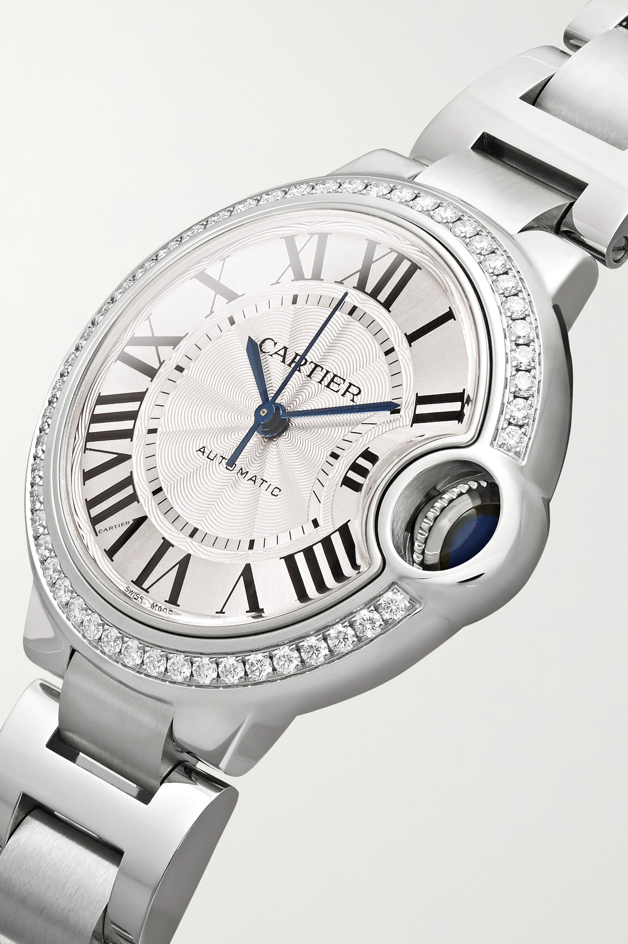 Cartier Ballon Bleu de Cartier Automatic 33 mm Uhr aus Edelstahl mit Diamanten