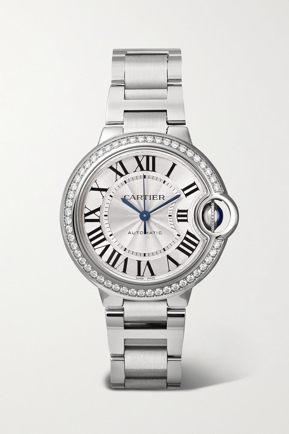 Cartier Ballon Bleu de Cartier 33 毫米精钢钻石腕表