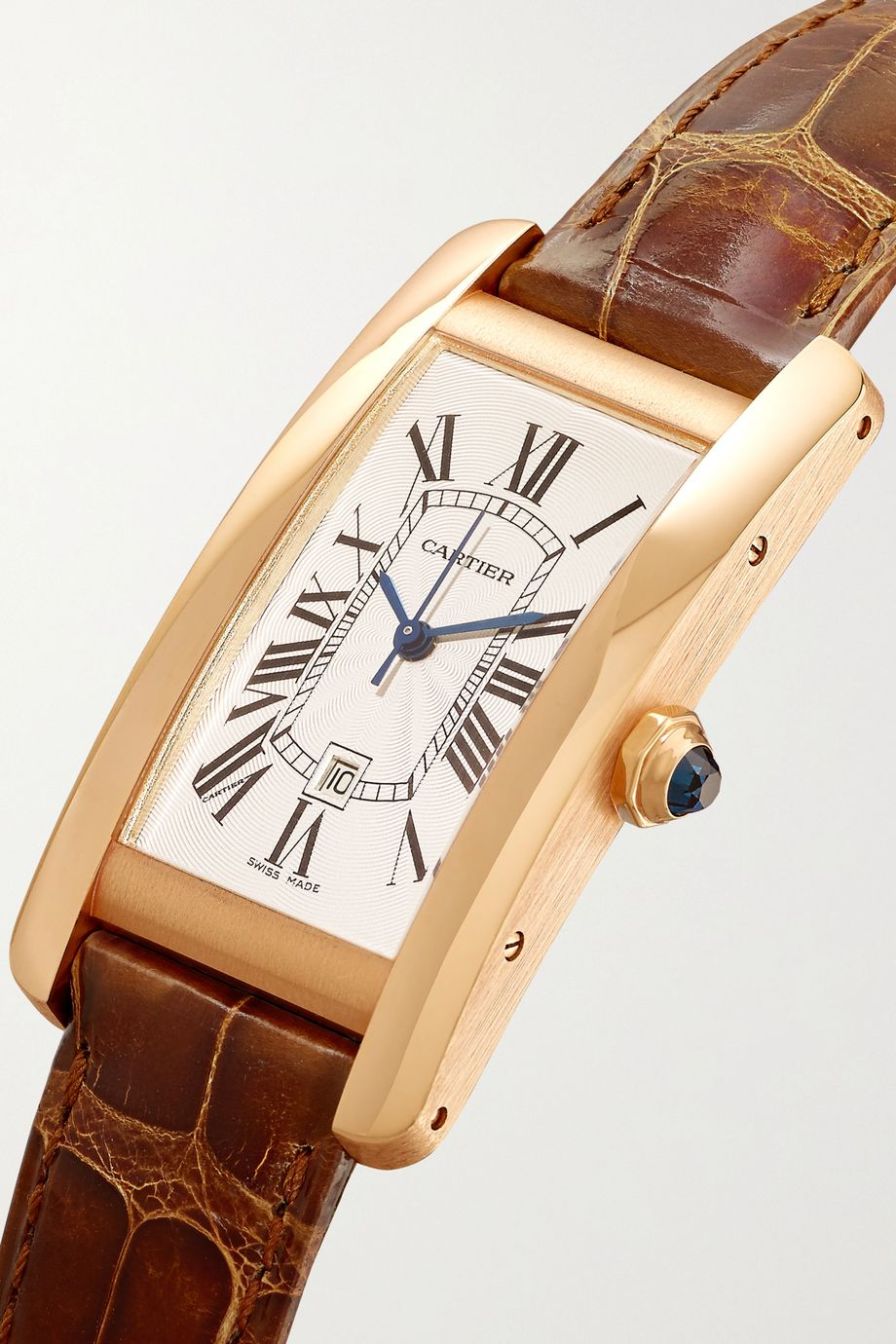 Cartier Tank Américaine 22.6mm medium 18-karat pink gold and alligator watch