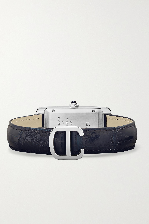 Cartier Montre en acier inoxydable à bracelet en alligator Tank Américaine Automatique Medium 22,6 mm
